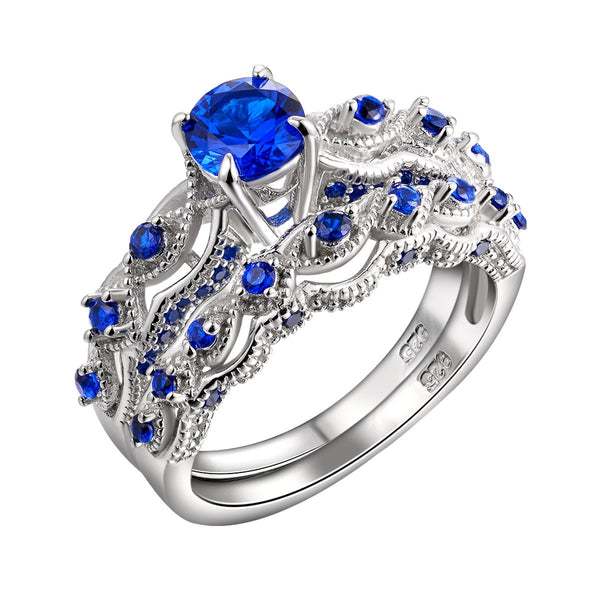 CERTIFIED 1.3Ct Created Blue Sapphire Engagement Ring Set Round 925 Sterling Silver