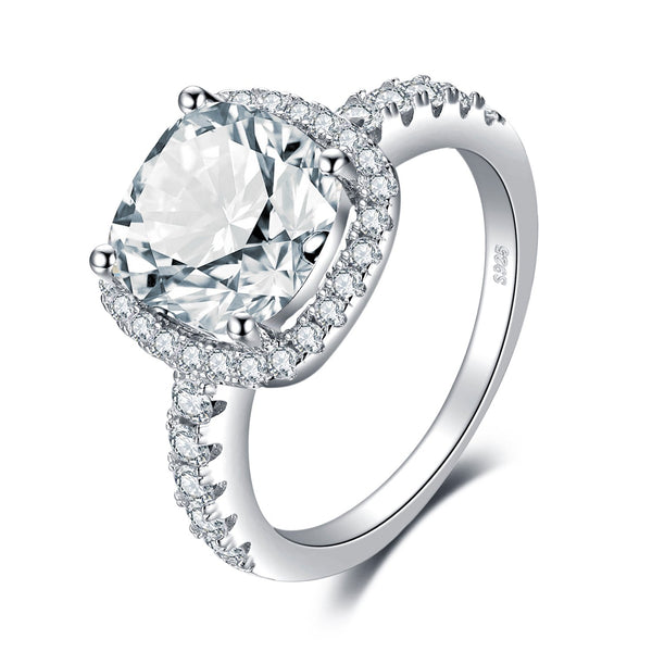 CERTIFIED 3ct Cushion CZ Engagement Rings Cubic Zirconia Promise Halo 925 Sterling Silver Engagement Ring