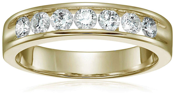 CERTIFIED 1 ctw 14K Gold Men's Classic Diamond Wedding Band