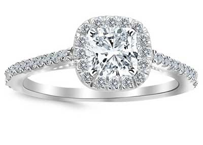 GIA Certified 1.07 Carat Cushion 14K White Cushion Halo Diamond Engagement (VS2, I)