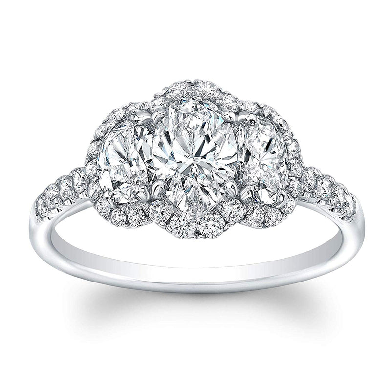 3 Stone Oval Cut Diamond Set in 18K White Gold Single Shank Pave Ring (Certified AGS .78 Center Stone I-J, VS1-VS2, 2 Side Stones .60 TW, 36 Full Cuts .30 TW)