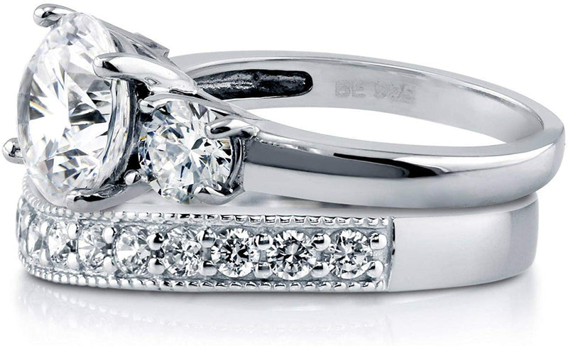 3.6 CTW Sterling Silver Round Cubic Zirconia CZ 3-Stone Engagement Ring Set