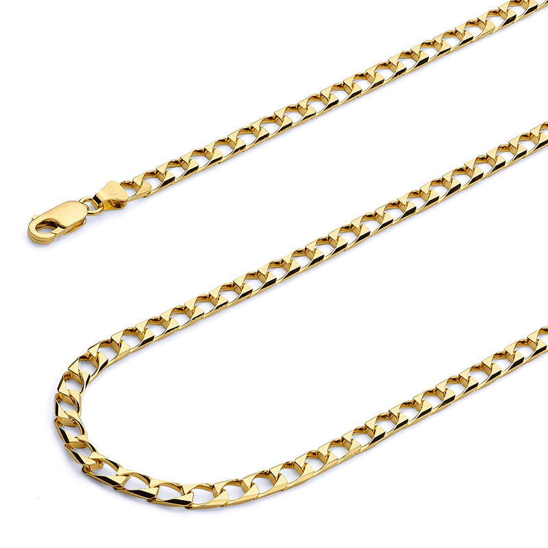 CERTIFIED 4mm 14k Yellow Gold Polished Square Cuban Concaved Curb Chain Necklace