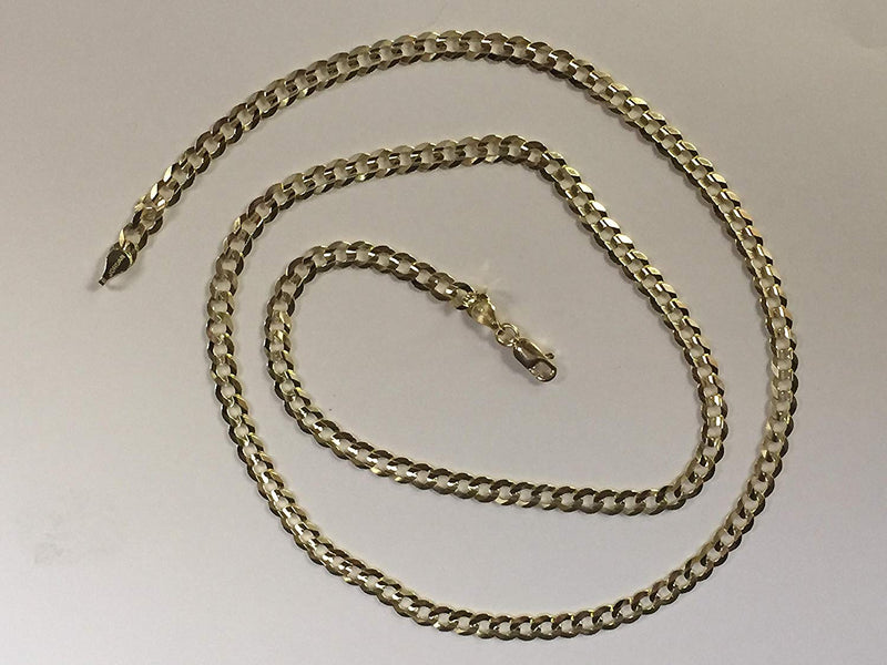 CERTIFIED 14K Solid Yellow Gold Comfort Concave Cuban Curb Link Chain Necklace 4.7 Mm Cc120 (22 Inches)