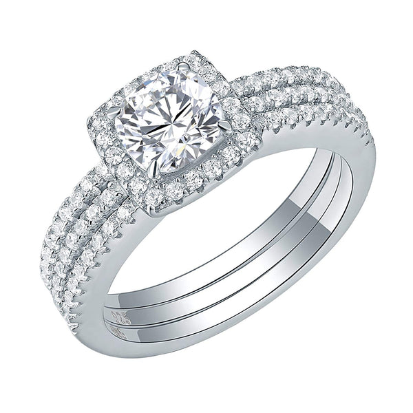 CERTIFIED 1.50 cttw Wedding Ring Halo Cz Engagement 925 Sterling Silver