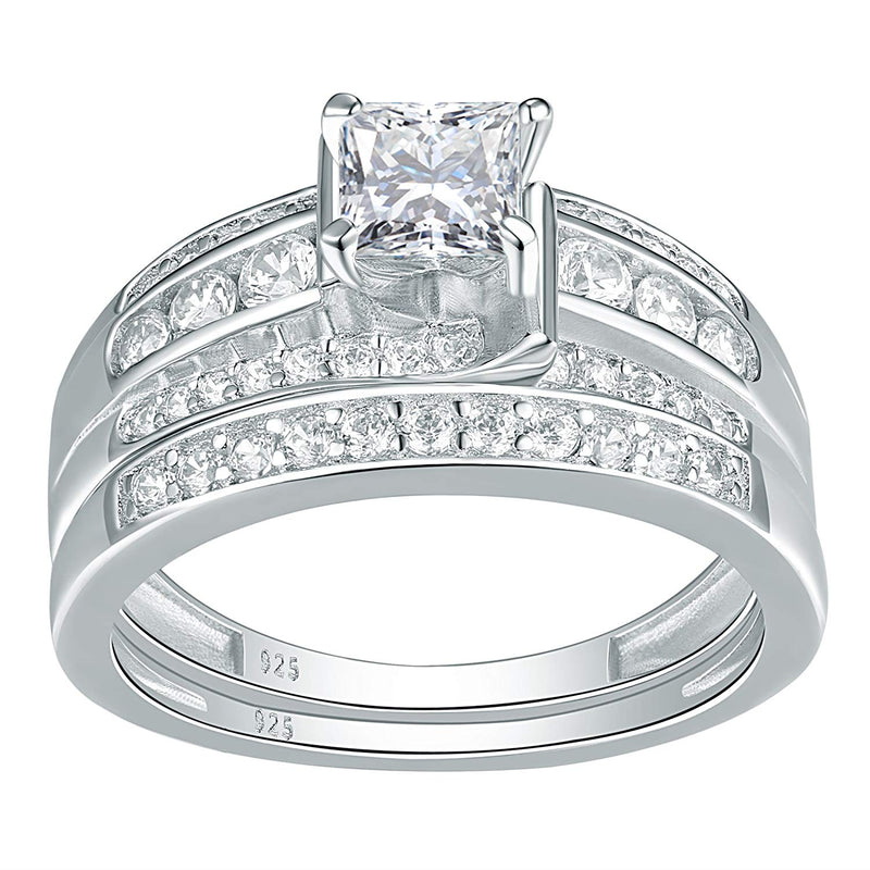 CERTIFIED 1.50 cttw Wedding Ring Sets Engagement Rings Princess 925 Sterling Silver Cz