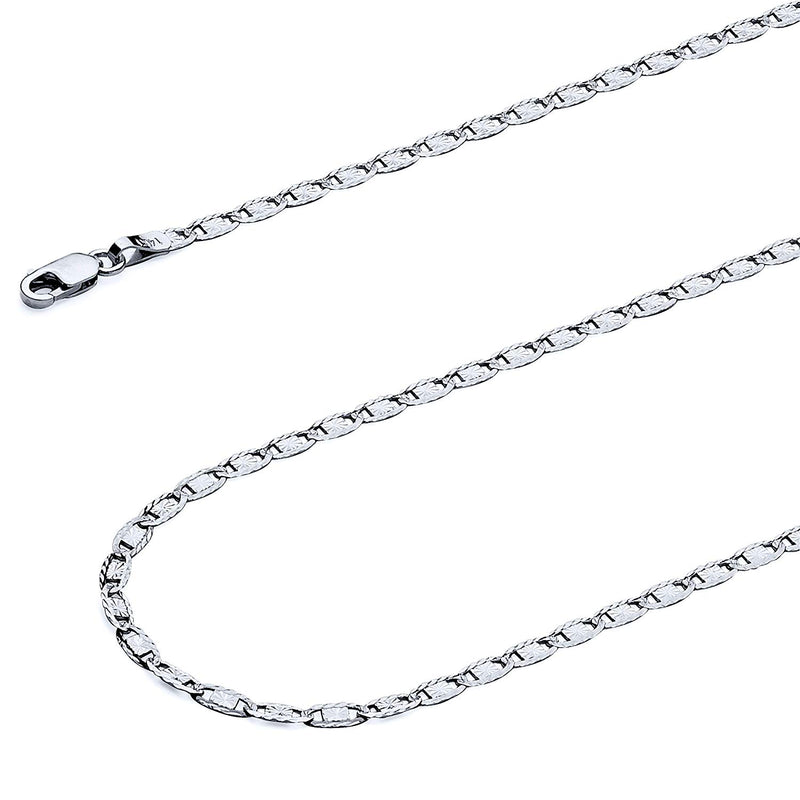 CERTIFIED TWJC 14k REAL Tri Color OR White Gold Solid 2.5mm Valentino Diamond Cut Chain Necklace with Lobster Claw Clasp