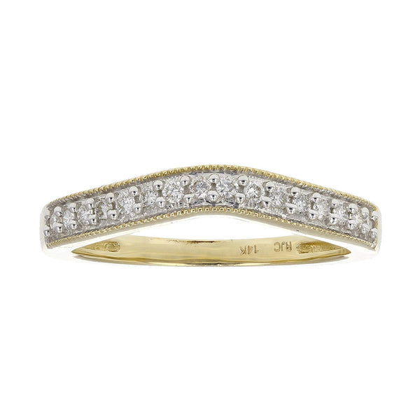 CERTIFIED 0.18 cttw Contour Milgrain Diamond Wedding Band in 14K White Gold