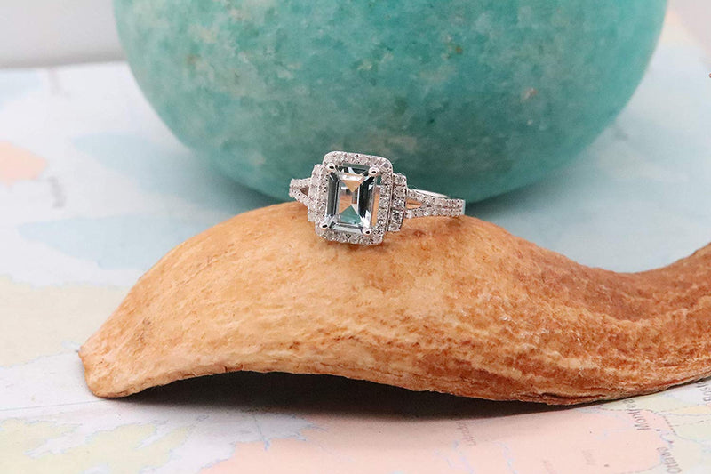 CERTIFIED 1.08 Carats Emerald Aquamarine & Round White Diamond Ladies Halo Style Bridal Engagement Ring, Sterling Silver