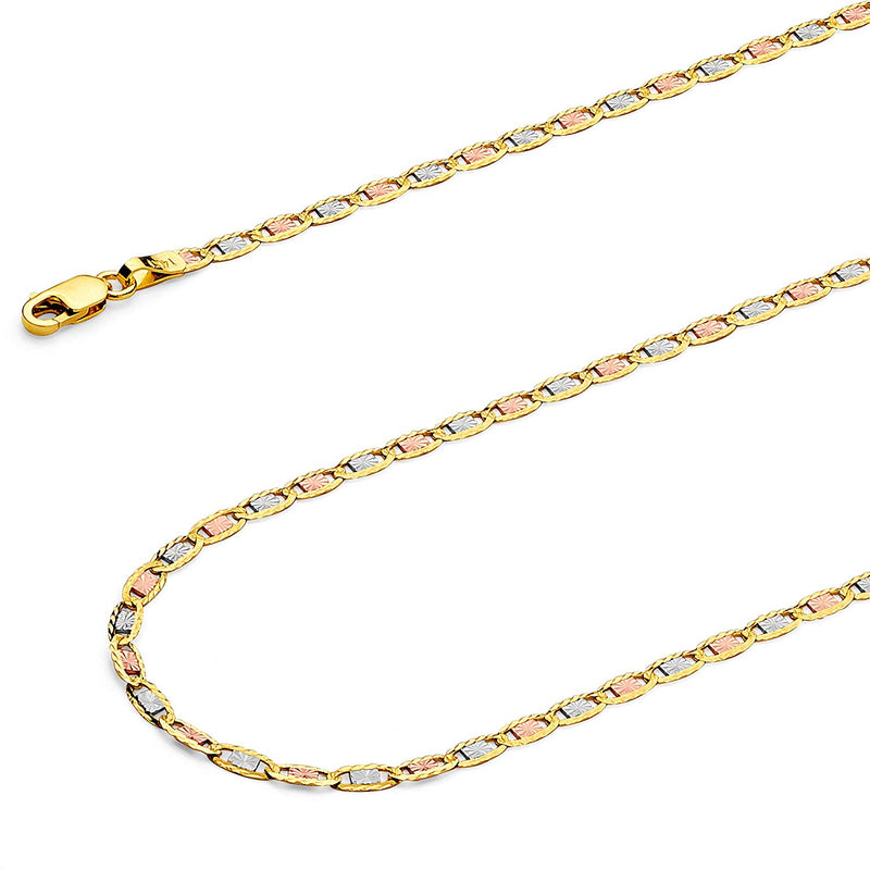 reamra CERTIFIED TWJC 14k REAL Tri Color OR White Gold Solid 2.5mm Valentino Diamond Cut Chain Necklace with Lobster Claw Clasp