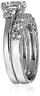 CERTIFIED 3.8 Carats Platinum-over Sterling Silver Swarovski Zirconia Round-Cut Three-Stone Ring Set