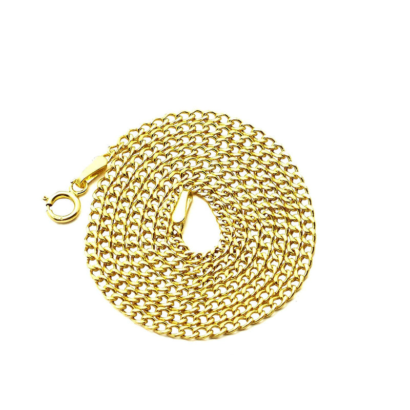 reamra CERTIFIED LoveBling 10K Yellow Gold 2mm Hollow Curb Cuban Chain Necklace (Available from 16-24 inches)