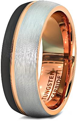 CERTIFIED 8mm Mens Wedding Band Black Matte Brushed Tungsten Ring Thin Side Rose Gold Groove Line Dome Shape Edge Comfort Fit