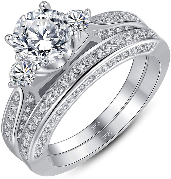 2.3 Carats 3 Stone Silver Wedding Set Round Cut Cubic Zirconia Ring Set