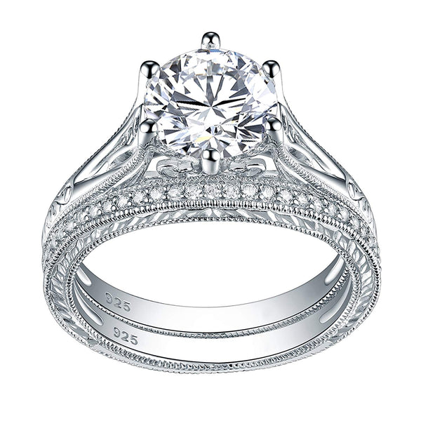 CERTIFIED 2.2ct Sterling Silver Wedding Ring Sets Vintage Engagement Rings 925 Cz