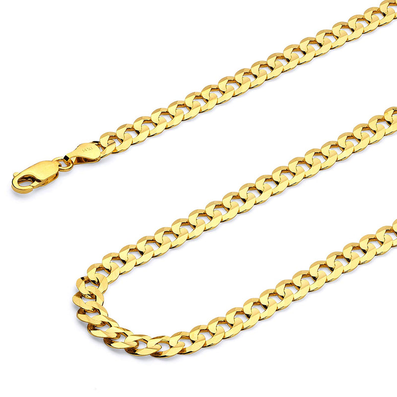 CERTIFIED Wellingsale 14k Yellow Gold SOLID 6.5mm Polished Cuban Concaved Curb Chain Necklace