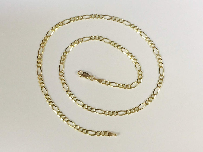 CERTIFIED 14Kt Solid Yellow Gold Classic Figaro Lite Curb Link Chain/Necklace 5.4 Mm (Lfig120
