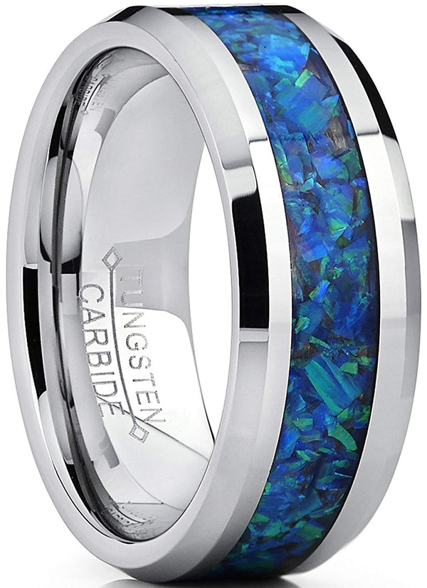 CERTIFIED 8MM Tungsten Carbide Wedding Ring with Blue Green Simulated Opal Inlay.