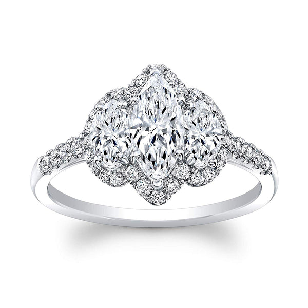 3 Stone Marquise Cut Diamond Set in 18K White Gold Single Shank Pave Ring (Certified AGS .55 Center Stone H-I, SI1, 2 Side Stones .54 TW, 36 Full Cuts .31 TW)