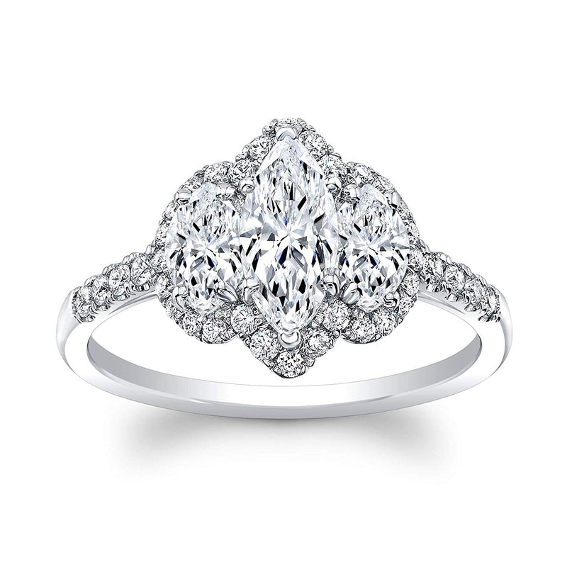 bik 3 Stone Marquise Cut Diamond Set in 18K White Gold Single Shank Pave Ring (Certified AGS .55 Center Stone H-I, SI1, 2 Side Stones .54 TW, 36 Full Cuts .31 TW)