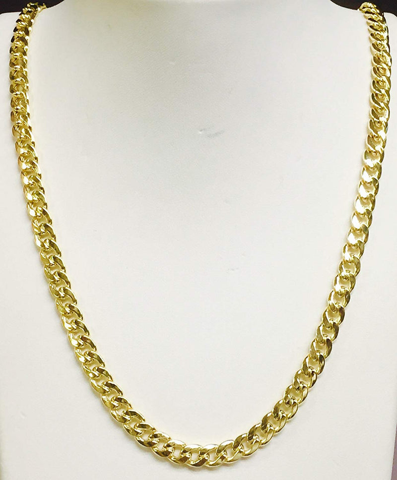 "CERTIFIED 10Kt Yellow Gold Miami Cuban Curb Link Chain/Necklace 6.5Mm 18""-32""(180Hmc"