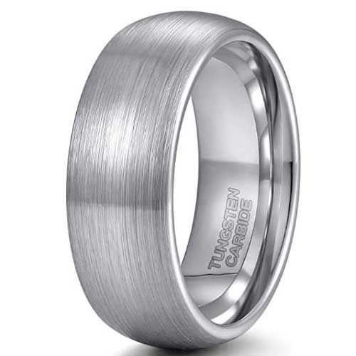 CERTIFIED Tungsten Carbide Ring Wedding Engagement Brushed Domed (Many Width)