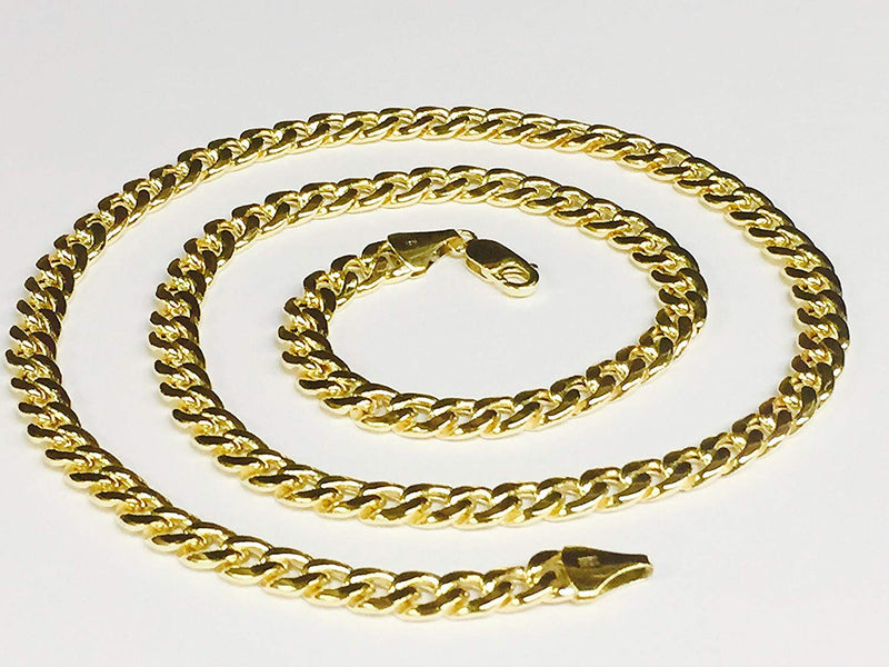 "reamra CERTIFIED 10Kt Yellow Gold Miami Cuban Curb Link Chain/Necklace 6.5Mm 18""-32""(180Hmc"