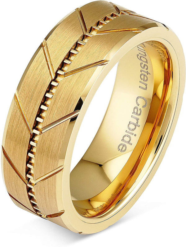 Tungsten Carbide Rings Gold Wedding Bands Milgrain Style Beveled Edge