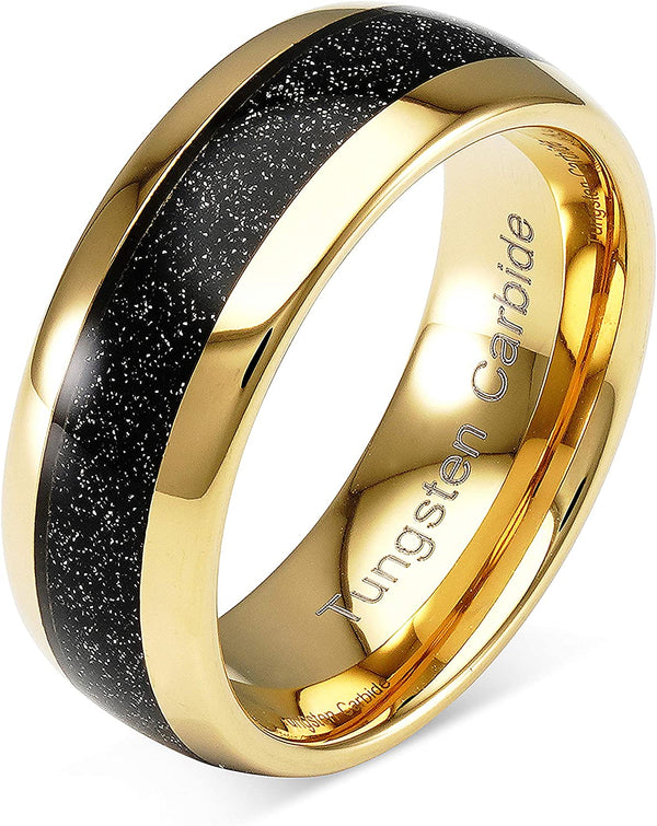 8mm Tungsten Ring Wedding Band Black Sandstone Inlaid Gold Dome