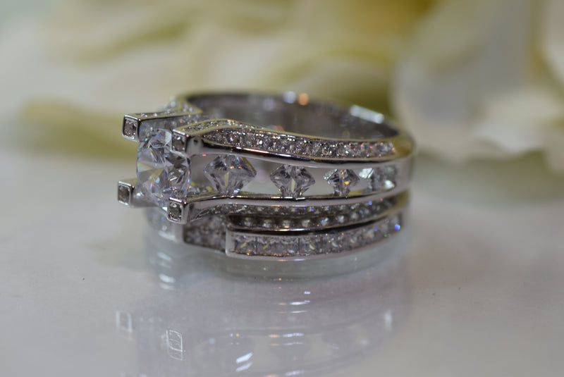 CERTIFIED 1.25 ct Wedding Rings Engagement Ring Band Sets 3ct Cz 925 Sterling Silver