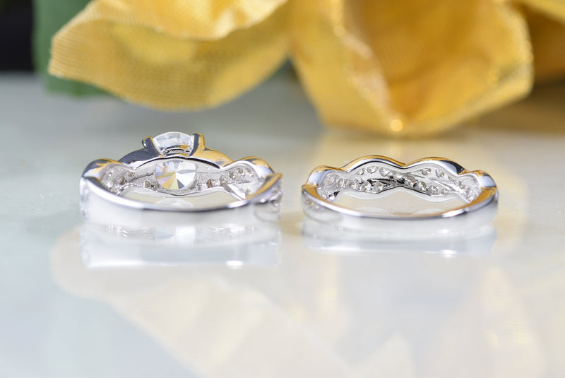 CERTIFIED 1.91ct Wedding Engagement Anniversary Promise Bridal Sets Rings