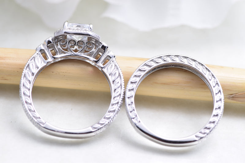 CERTIFIED 1.72 cttw Wedding Engagement Set 925 Sterling Silver Vintage Princess Cz