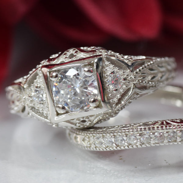 Vintage Style Two Piece Wedding Engagement Bridal Set Ring Band Round CZ 925 Sterling Silver