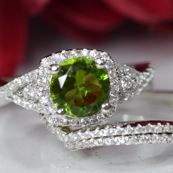 Halo Three Piece Trio Set Wedding Ring Infinity Round Simulated Green Peridot 925 Sterling Silver