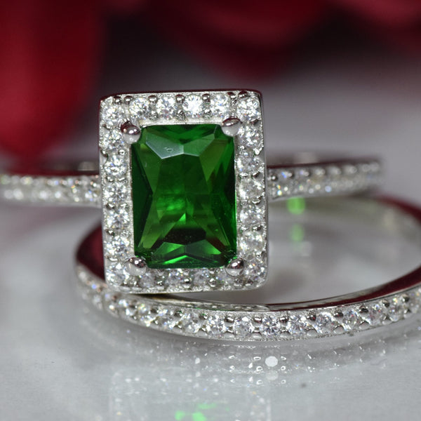 Halo Wedding Engagement Band Ring Emerald Cut Simulated Green Emerald Round CZ 925 Sterling Silver