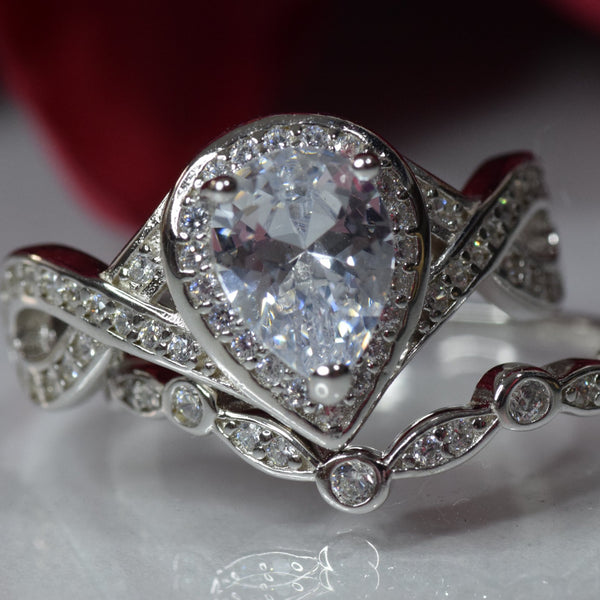 Teardrop Bridal Set Art Deco Wedding Engagement Ring Band 925 Sterling Silver Pear Round CZ