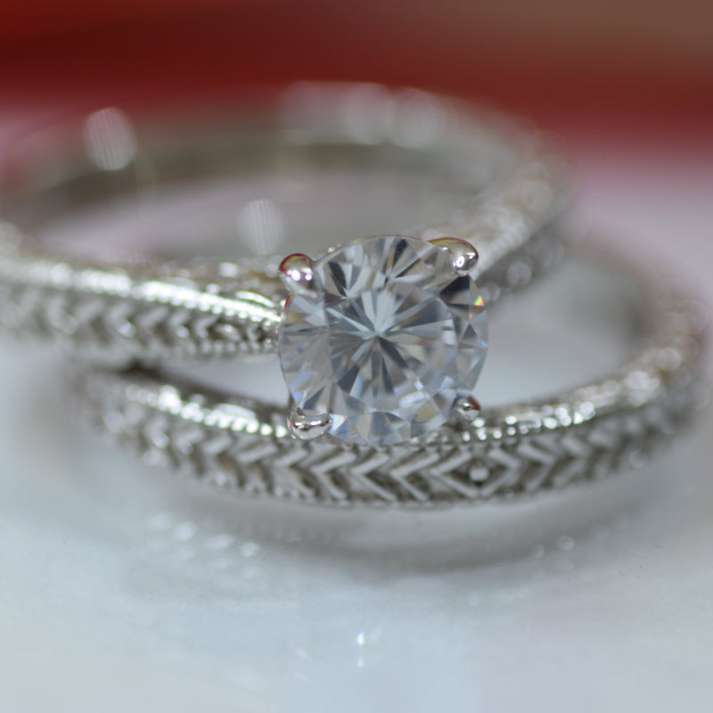 1Ct Vintage Wedding Rings for Women Engagement Band Ring Set 925 Sterling Silver Cz