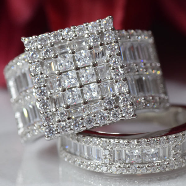 Platinum Over Sterling Silver Big Womens Bridal Rings Set Bling Princess Cut Cubic Zirconia