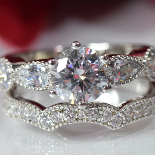 2.17 carats Sterling Silver 6 Prongs Solitaire Bridal Engagement Wedding Ring Set