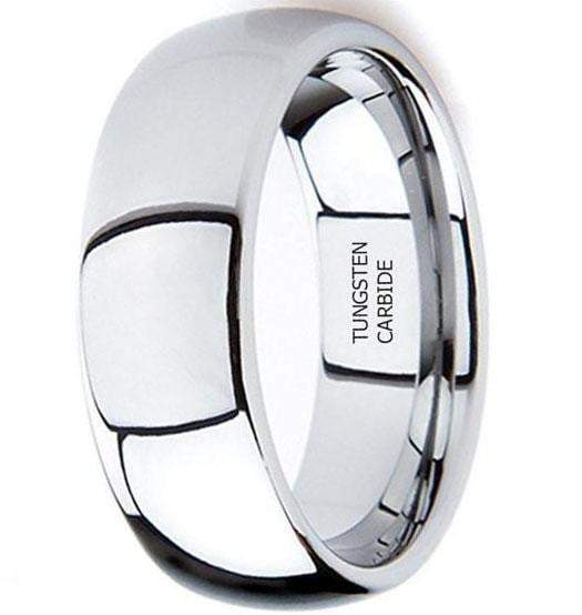 CERTIFIED 8mm Tungsten Metal High Polished Domed Wedding Band Ring