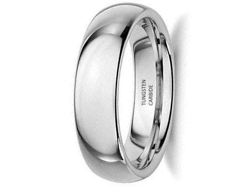 CERTIFIED 6mm White Classic Tungsten Carbide Women Wedding Band