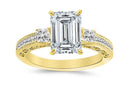 1 Carat 14K White Gold Three 3 Stone Princess Cut Channel Set Emerald Cut GIA Certified Diamond Engagement Ring (0.5 Ct E Color VS2 Clarity Center Stone)