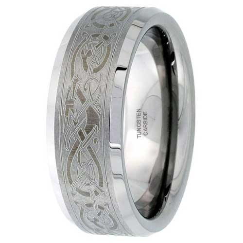 CERTIFIED 8mm Flat Wedding Band Ring Etched Celtic Dragon Pattern Beveled Edges.