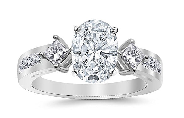 1.95 Ctw 14K White Gold Channel Set 3 Three Stone Princess Oval Cut GIA Certified Diamond Engagement Ring (1.2 Ct K Color SI2 Clarity Center Stone)