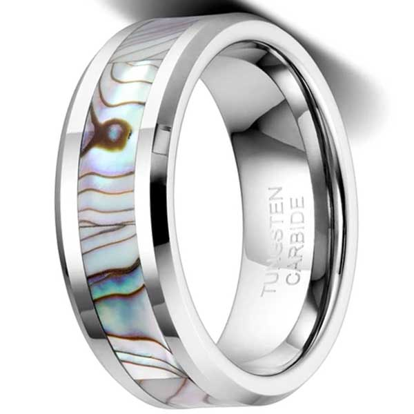 CERTIFIED 8mm Tungsten Wedding Band Natural Abalone Shell Inlay Tungsten Carbide