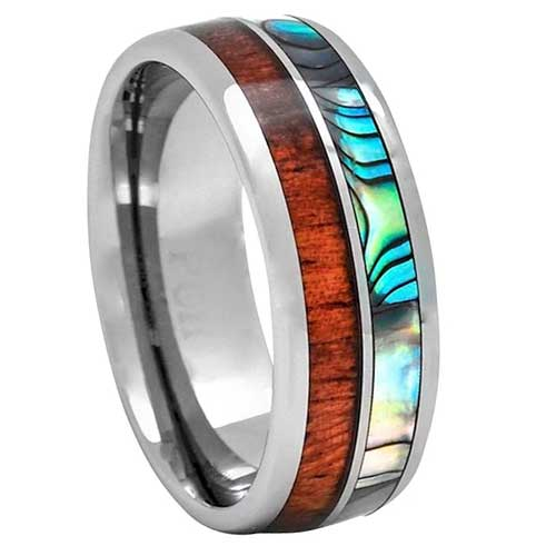 CERTIFIED 8mm Tungsten Hawaiian Koa Wood and Abalone Inlay Wedding Ring Comfort Fit