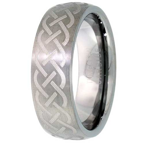 CERTIFIED 7mm Tungsten Domed Wedding Band Ring Brushed Etched Celtic Knot