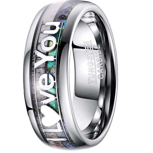 CERTIFIED 8mm Natural Abalone and Deer Antler Tungsten Ring I Love You