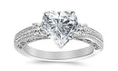 1 Carat 14K White Gold Three 3 Stone Princess Cut Channel Set Heart Shape GIA Certified Diamond Engagement Ring (0.49 Ct F Color SI1 Clarity Center Stone)