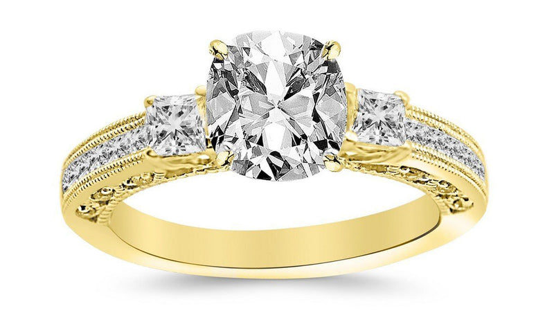 2 Ctw 14K White Gold Three 3 Stone Princess Cut Channel Set GIA Certified Diamond Engagement Ring Cushion Cut (1.5 Ct D Color SI1 Clarity Center Stone)